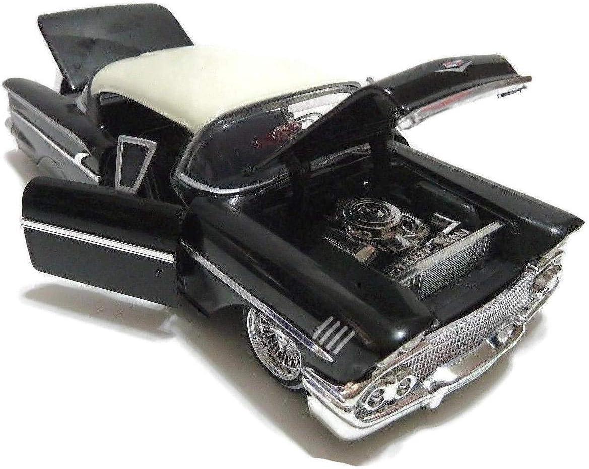 "1958 CHEVROLET IMPALA BLACK /""LOWRIDER SERIES/"" STREET LOW 1//24 DIECAST JADA 98919"