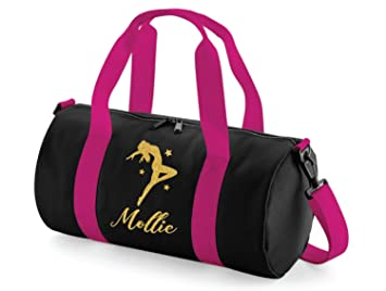 Absolutely Top Girls Personalised Dance Glitter Barrel Bag (Black   Deep  Bubblegum Pink Gold 8da5dc4a7e0a9