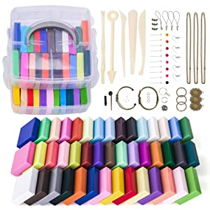 Magicfly Polymer Clay Starter Kit, 45 Colors Oven Bake Clay with 5 Modeling Tools and 40 Jewelry Accessories, Safe and Nontoxic DIY Baking Clay Blocks
