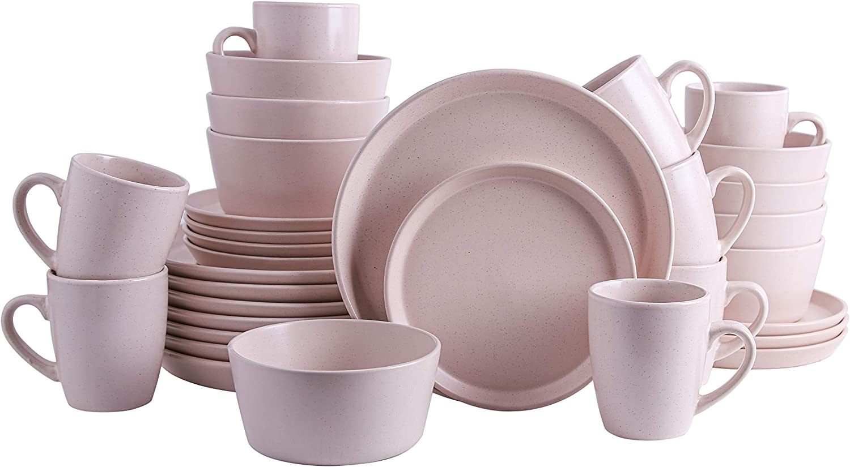 Stone Lain Stoneware Dinnerware Set, Service For 7, Light Pink