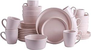Stone Lain Stoneware Dinnerware Set, Service For 8, Light Pink