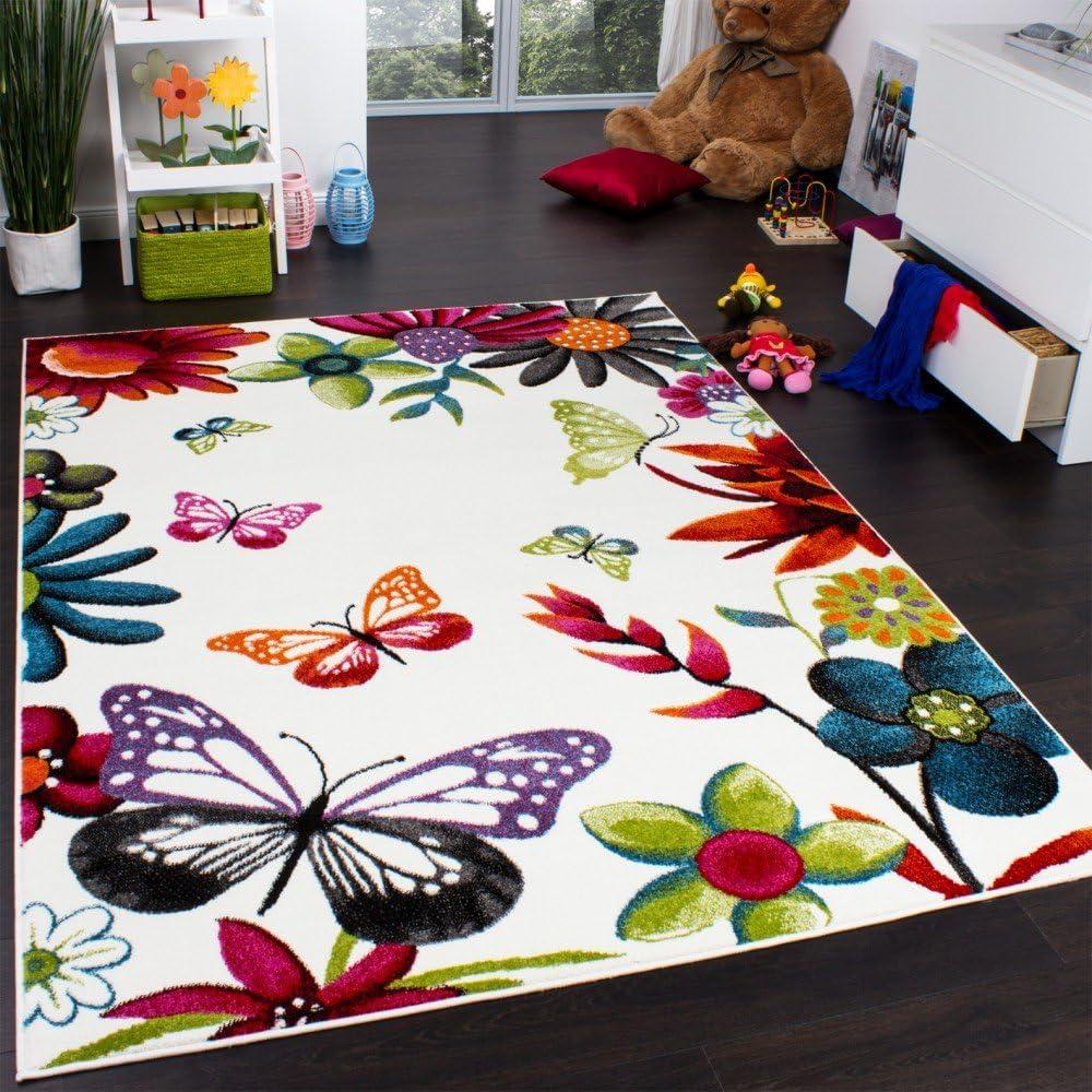Tapis Chambre denfant Papillons Multicolore Cr/ème Rouge Orange Vert Bleu Dimension:120x170 cm