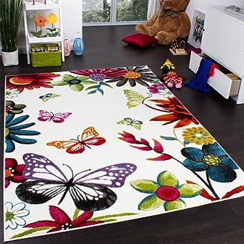 Tapis Chambre D Enfant Papillons Multicolore Creme Rouge Orange Vert