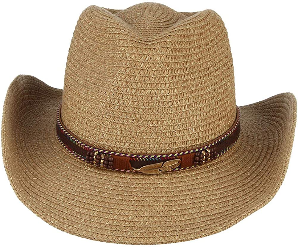 Lisianthus Mens /& Womens Classic Straw Cowboy Hat with Metal Leaf Belt