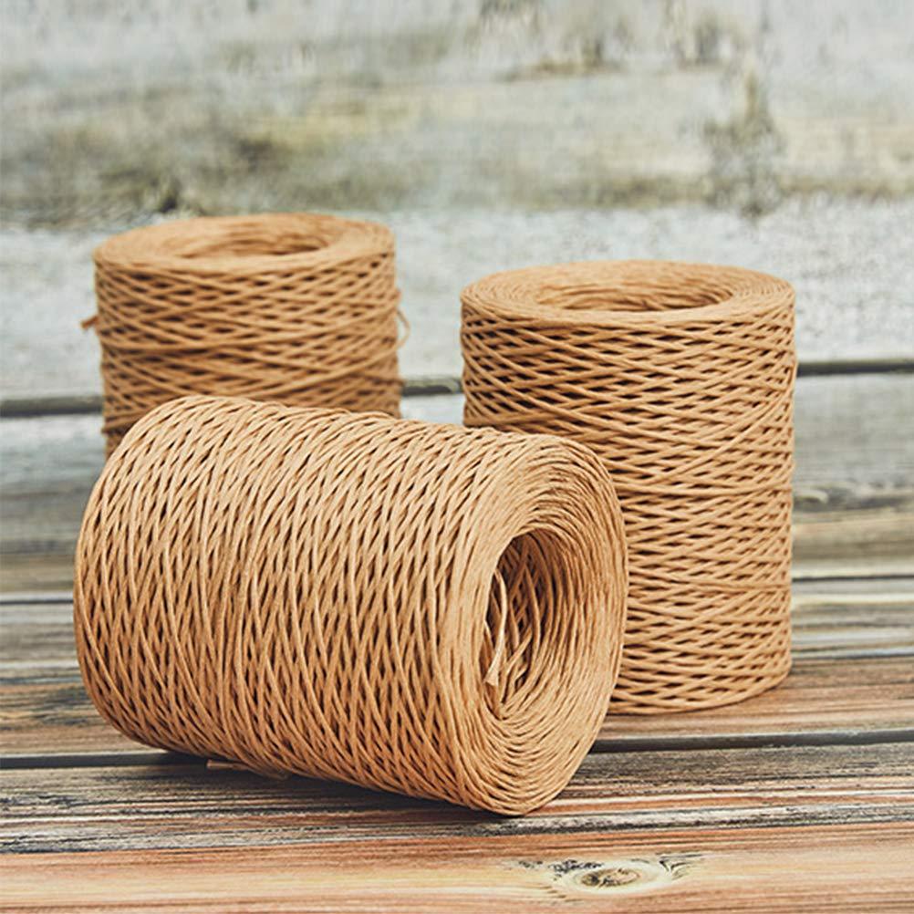 Qeedio Cuerda de alambre de hierro recubierto de papel de 200 m para envolver regalos de ramos de flores
