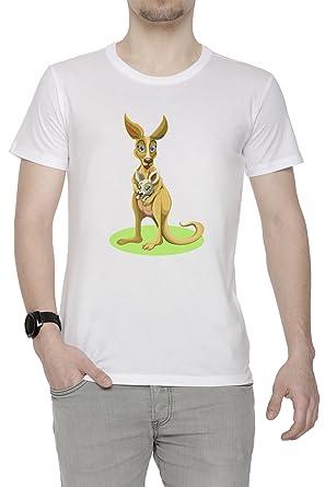 Niedlich Känguru Mit Baby Herren T-Shirt Rundhals Weiß Kurzarm Größe S  Men's White Small