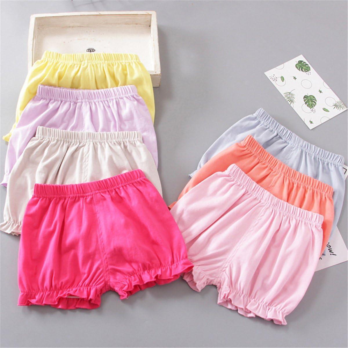 JELEUON 3Pcs Little Baby Girls Summer Soild Color Cotton Blend Bloomer Shorts Panties