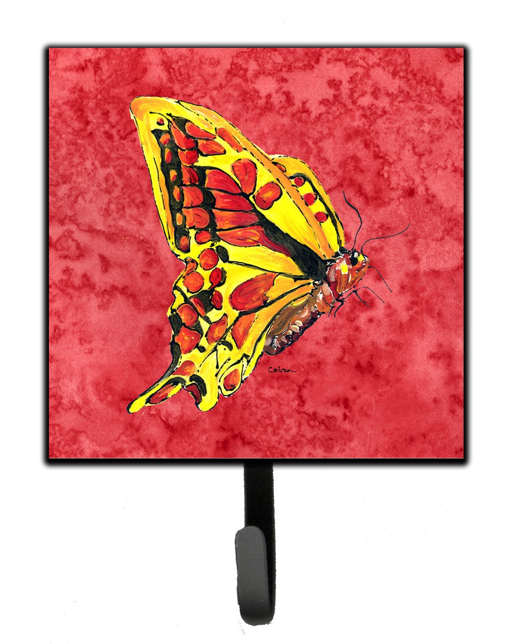 Carolines Treasures 8862SH4 Butterfly On Red Leash or Key Holder Small Multicolor