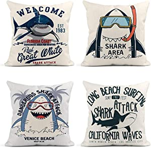 ArtSocket Set of 4 Throw Pillow Covers Toothy White Shark Sketch Typo and Slogans Surfing Attack Long Decor Linen Pillow Cases Home Decorative Square 18X18 Inches Pillowcases