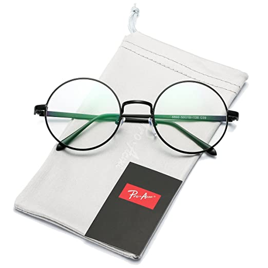 11c0ff9c1a Pro Acme Retro Round Metal Frame Clear Lens Glasses Non-Prescription(Black  Frame