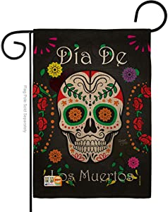 Breeze Decor Dia de Los Muertos Garden Flag Fall Day of Dead Fiesta Mexican Party Autumntime House Decoration Banner Small Yard Gift Double-Sided, Thick Burlap, Made in USA