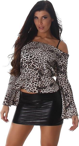 Voyelles camisa de las señoras de la blusa blusas de manga larga túnica Pulli Carmen-cuello del leopardo túnica blusa Leo 38-40: Amazon.es: Ropa y ...