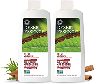 product image for Desert Essence Natural Neem Mouthwash - Cinnamint Flavor - 16 Fl Ounce - Pack of 2 - Reduce Plaque Buildup - Tea Tree Oil - Neem Leaf Extract - Peppermint - Complete Oral Care - Refreshes Breath