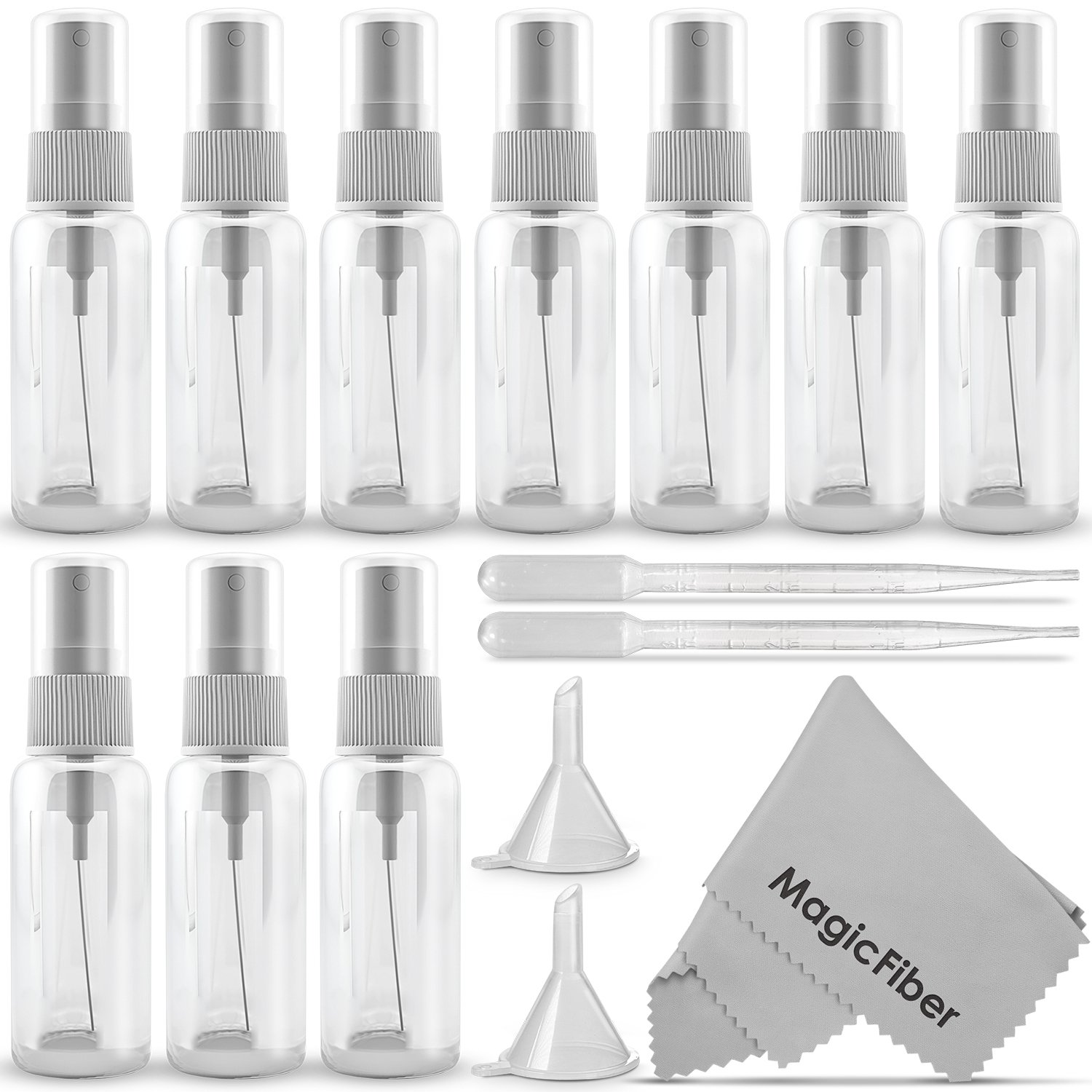 (10 Pack) Empty 20ml (0.66oz.) Clear Plastic Mist Spray bottle + 2 Pipette Droppers and 2 Funnels + MagicFiber Microfiber Cleaning Cloth Goja KM0682
