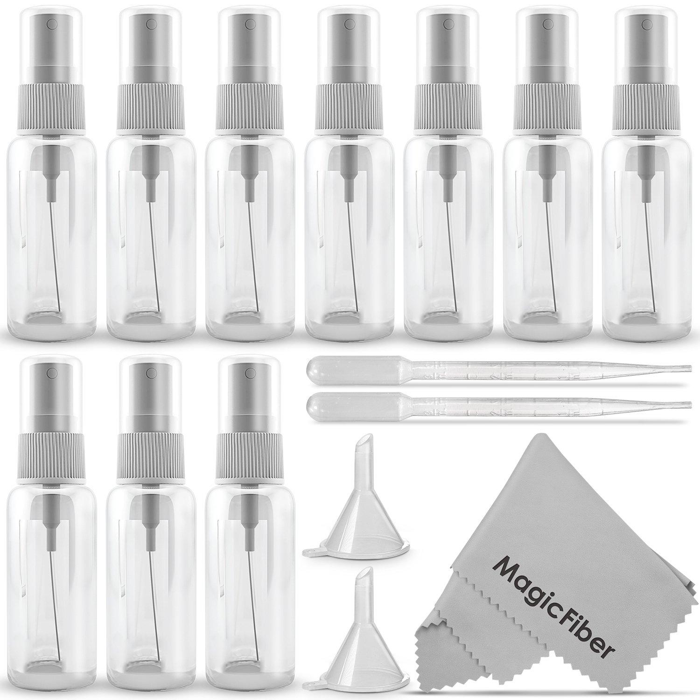 (10 Pack) Empty 20mL (0.66oz.) Clear Plastic Fine Mist Spray Bottle (Less Than 1oz.) + MagicFiber Microfiber Cleaning Cloth Goja KM0682
