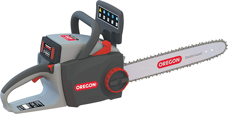 Oregon 573016 Motosierra con autoafilado Litio CS300. Incluye batería de 4.0Ah y Cargador estándar. La Cadena se afila en 5 Segundos sin desmontarla, 36 V, Rojo, Negro, Gris
