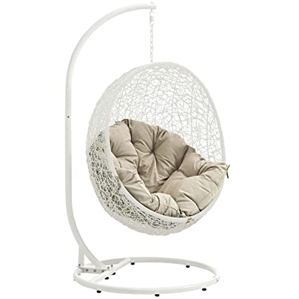 Image Unavailable. Image not available for. Color: Modway Hide Outdoor  Patio Swing Chair ... - Amazon.com: Modway Hide Outdoor Patio Swing Chair, White Beige