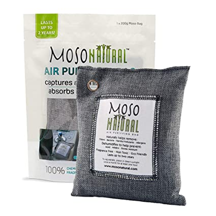 MOSO NATURAL Air Purifying Bag  Odor Eliminator, Odor Absorber for Cars and  Closets  200g Charcoal Color