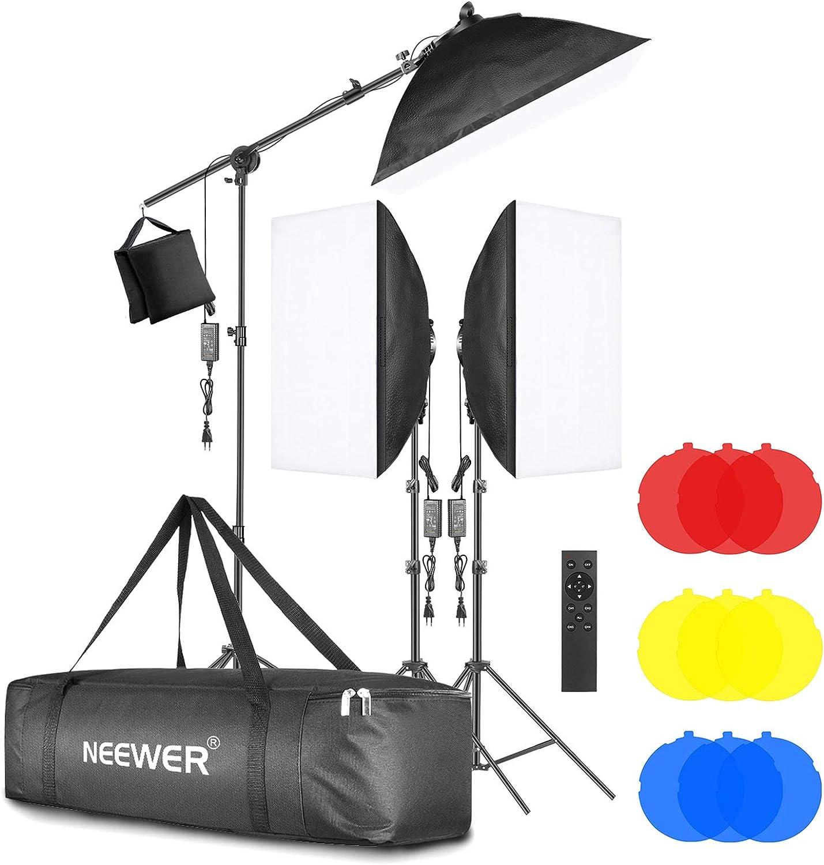 Neewer 3-Pack Iluminación LED Softbox 2,4G Kit con Filtro Color Softbox de 51x71cm Cabezal Luz LED Regulable 3200-5600K 48W con Control Remoto 2,4G Soporte de Luz Brazo Articulado Bolsa para Grabación