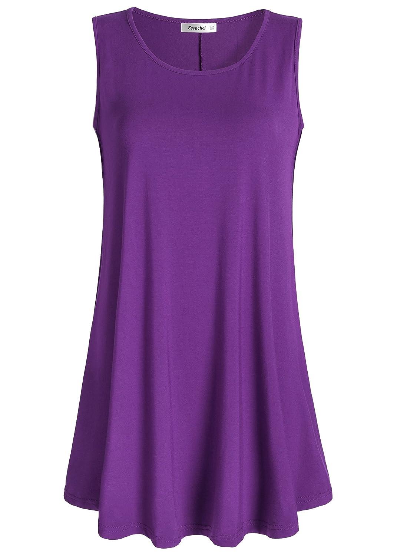 Purple Esenchel Women's Flowy Sleeveless Tunic Top for Leggings