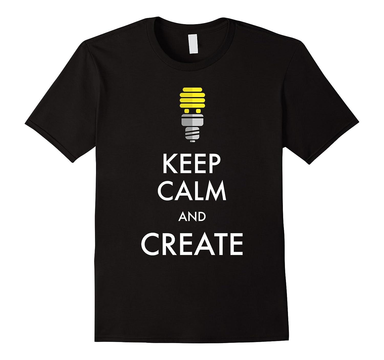 Keep Calm And Create Lightbulb Vintage Flat Design T Shirt