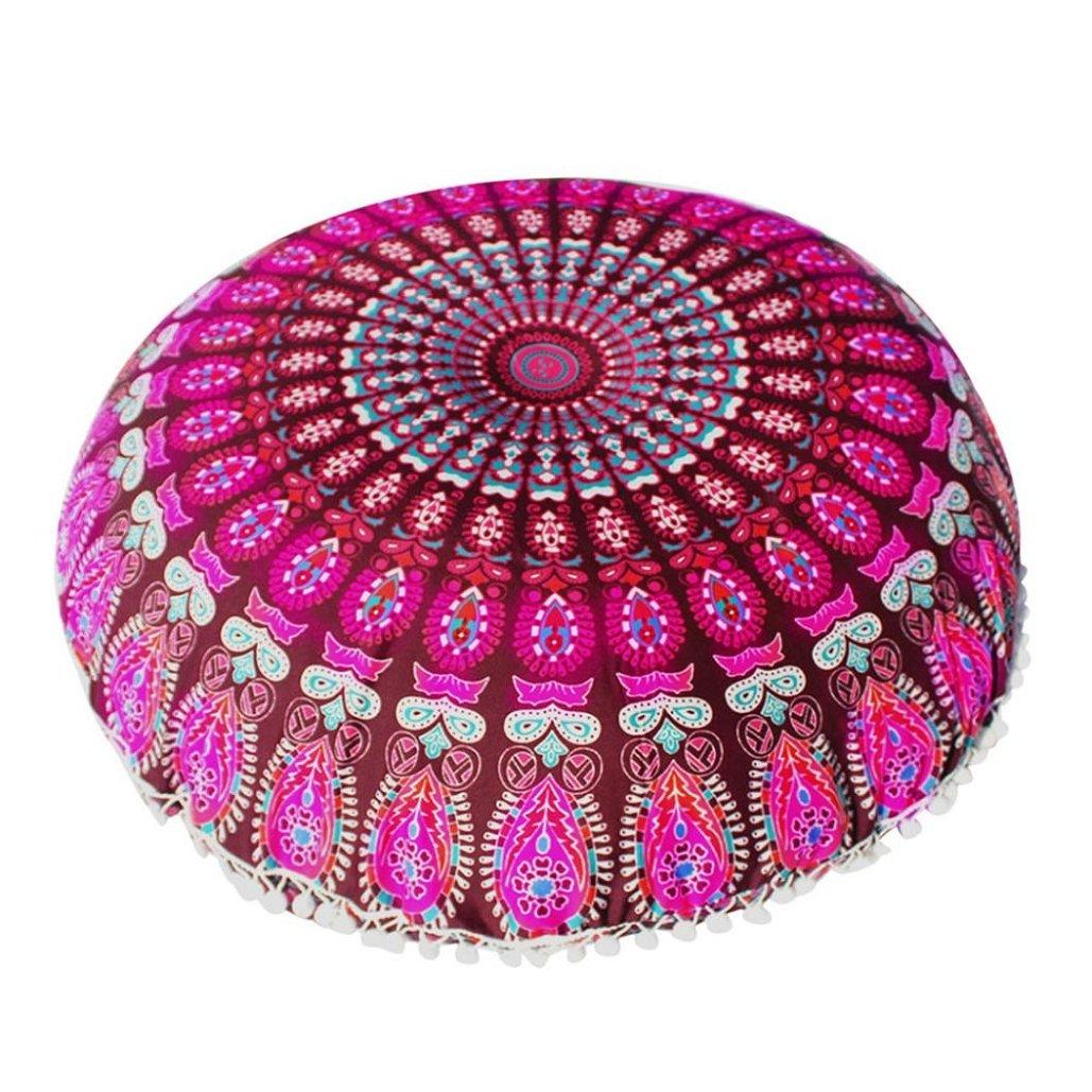 80×80CM Large Mandala Floor Pillows Round Bohemian Meditation Cushion Cover Ottoman Pouf ,Tuscom (4)