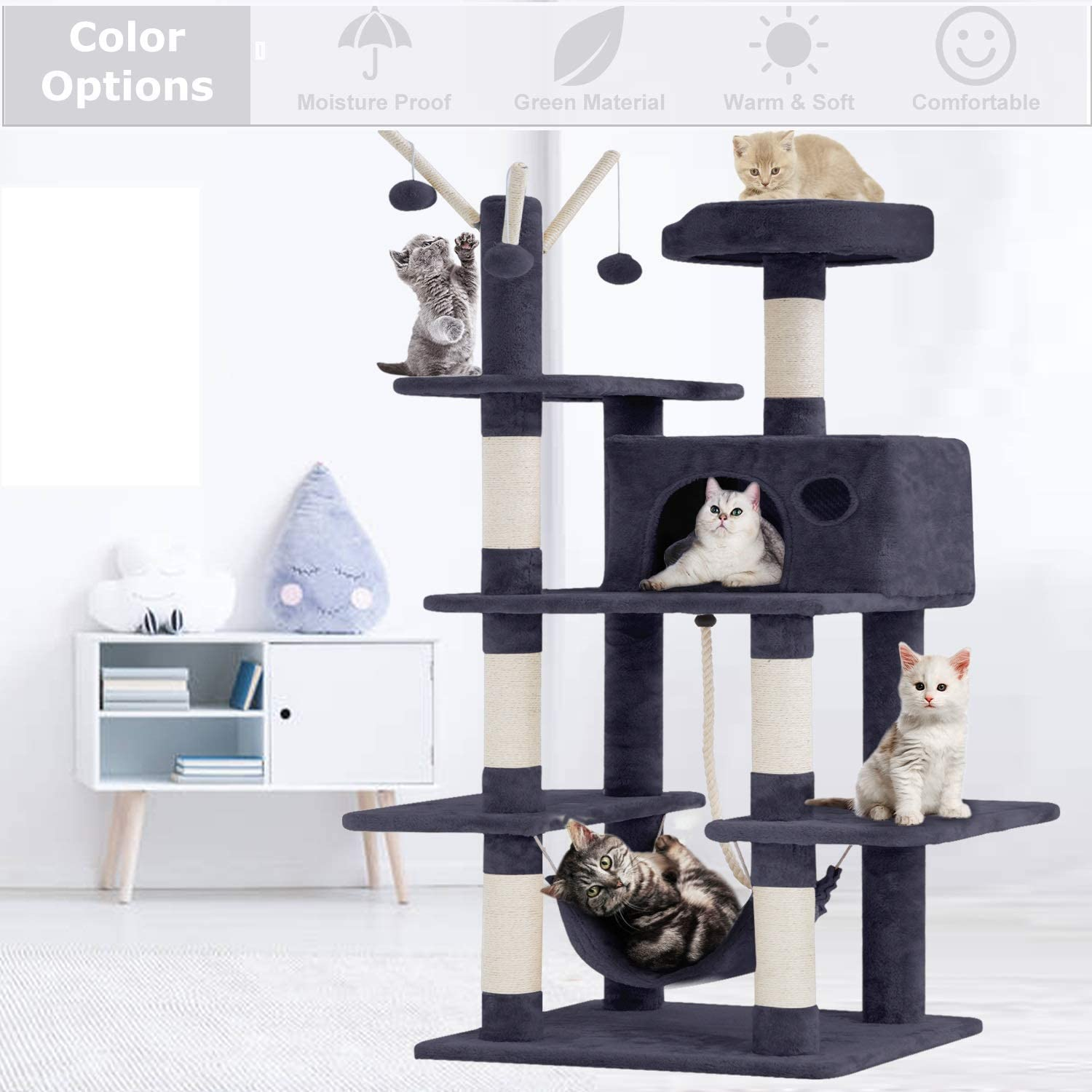 Lucky Shop Cat Tree Cat Condos And Towers With Scratching Post Cat Hammock Cat Condo House Cat Tree House 56 Inches Modern Cat Tower Cat Activity Tree Condo Playground For