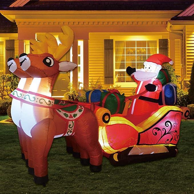 17.5 Ft CHRISTMAS Lighted Santa /& Rudolph Sleigh Airblown Inflatable Yard Decor