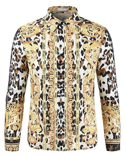 34c66fcb Jotebriyo Mens Stylish Leopard Print Long Sleeve 3D Print Button Up Slim Fit  Dress Shirts at Amazon Men's Clothing store:
