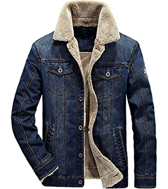 d8fc5c6b37a XinDao Men s Petite Plus Cotton Warm Fur Collar Sherpa Lined Denim Jacket  Button Down Classy Casual