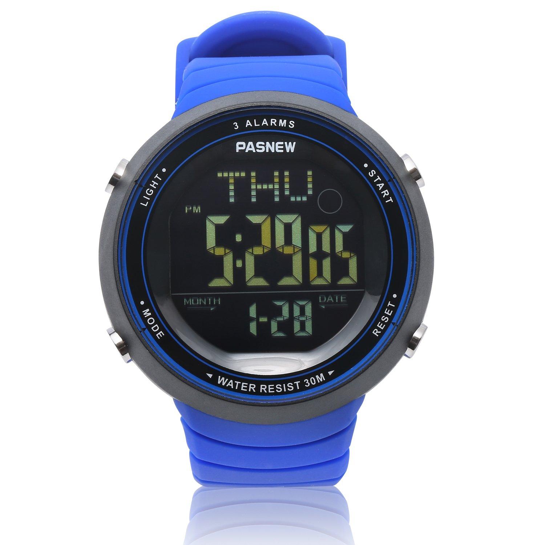Teenagers Sport Watch | Multifunctional Wrist Clock | Digital Display | 3ATM Waterproof| EL Backlight | Stopwatch | Chronograph | 3 Alarms | Chime | PU Strap for Boys Girls (Blue) by HOWOD