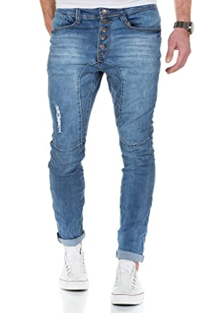 Jeans Herren Hose Denim Slim Fit Drop Crotch Chino Clubwear