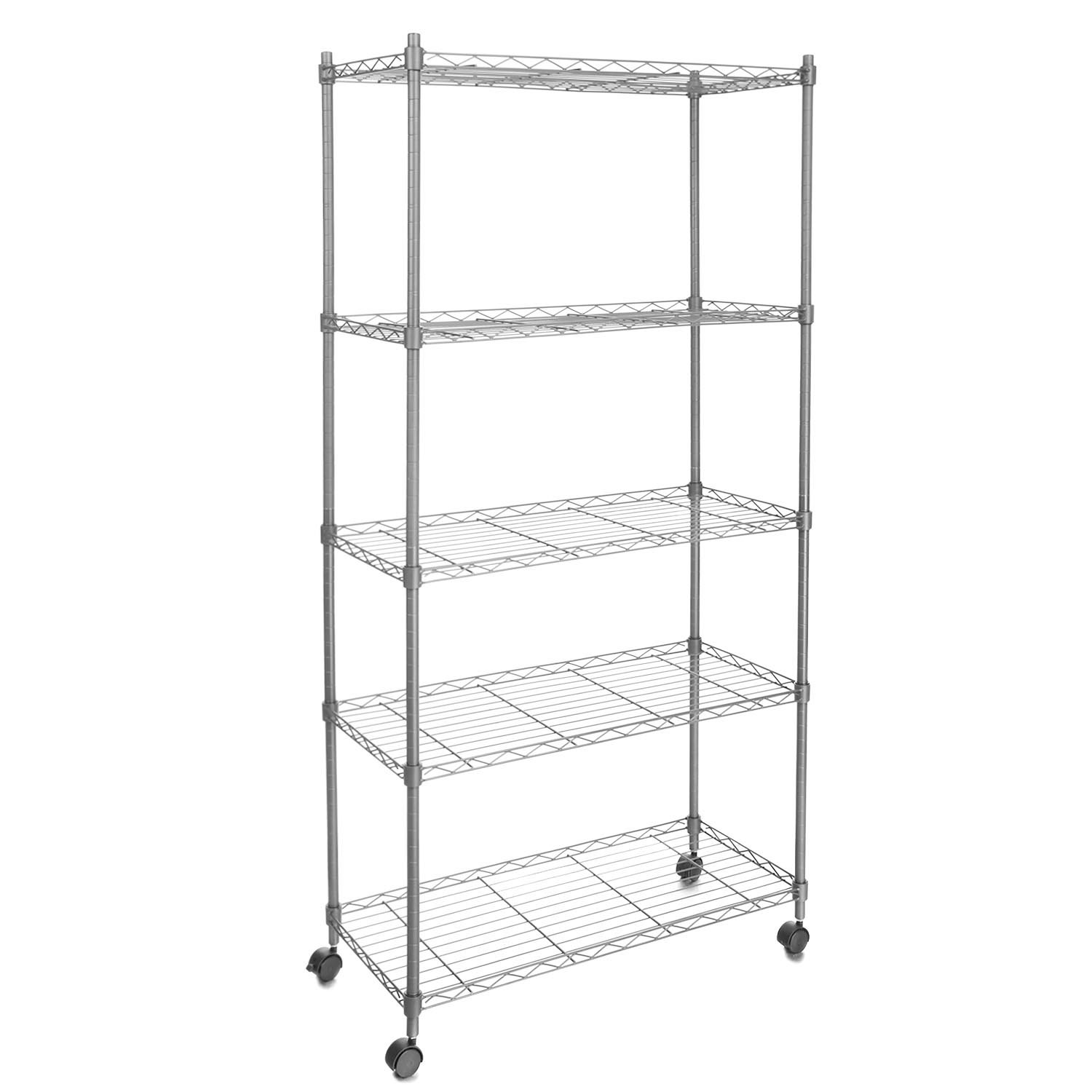 Cosway Adjustable Wire Shelving 5-Tier Shelf Metal Shelf Unit with Wheels for Kitchen Bedroom Garage (Sliver)