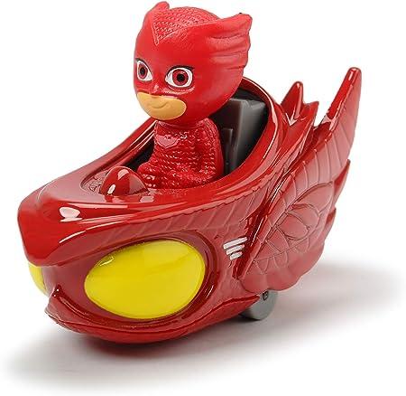 Dickie Toys PJ Masks - Pack Individual de Deslizadores de búho, vehículo de Metal, Rueda Libre, 7 cm, a Partir de 3 años