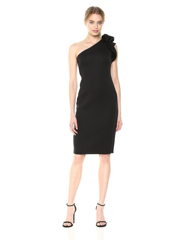 Black Betsy & Adam Womens Short One Shoulder pink Accent Dress Formal Dress