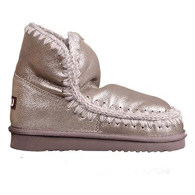modèle 18 Mouton Argent microglitter Mou Eskimo Demi Botte Chaussures Sacs de et en Peau 8q8wFEa