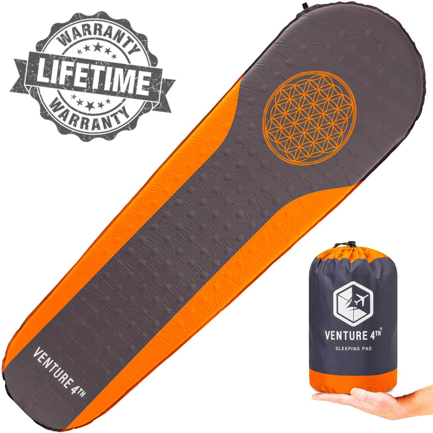 VENTURE 4TH Sleeping Pad for Camping - No Pump or Lung Power Required - Warm, Quiet and Supportive Bedroll for a Comfortable Night's Sleep - Compact and Ultra Light Airpad (Orange/Gray) by VENTURE 4TH
