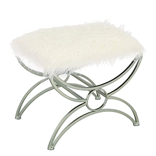 Joveco Vanity Stool Faux Fur Cushion Upholstered Footrest White Fabric 2
