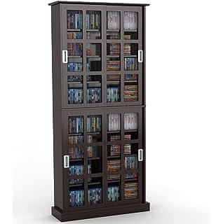 Amazon.com: Atlantic Windowpane Media Cabinet With Sliding Glass ...