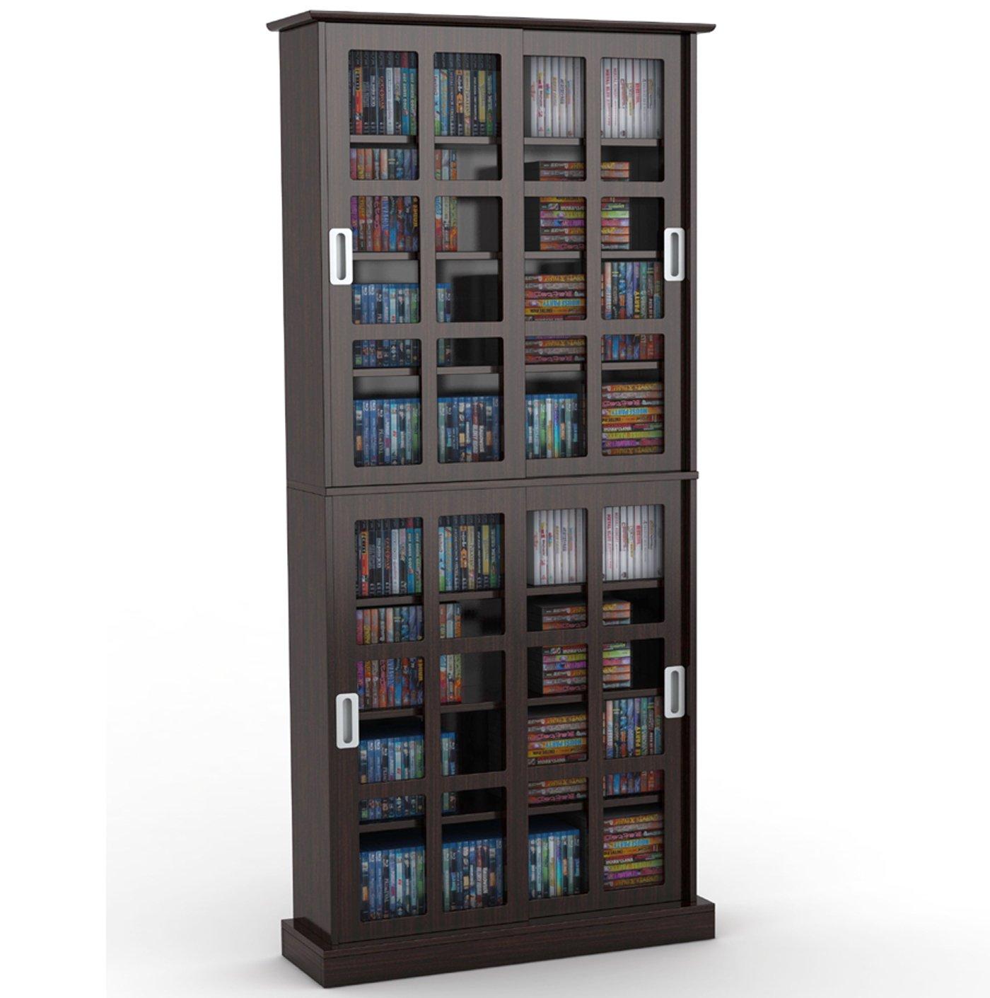 Amazon.com Atlantic Windowpane 720 Multimedia Storage Wood Cabinet in Espresso Home u0026 Kitchen  sc 1 st  Amazon.com & Amazon.com: Atlantic Windowpane 720 Multimedia Storage Wood Cabinet ...