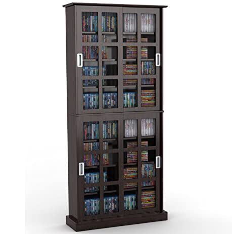 Amazon.com: Atlantic 94835757 Windowpane 720 Media Cabinet in ...