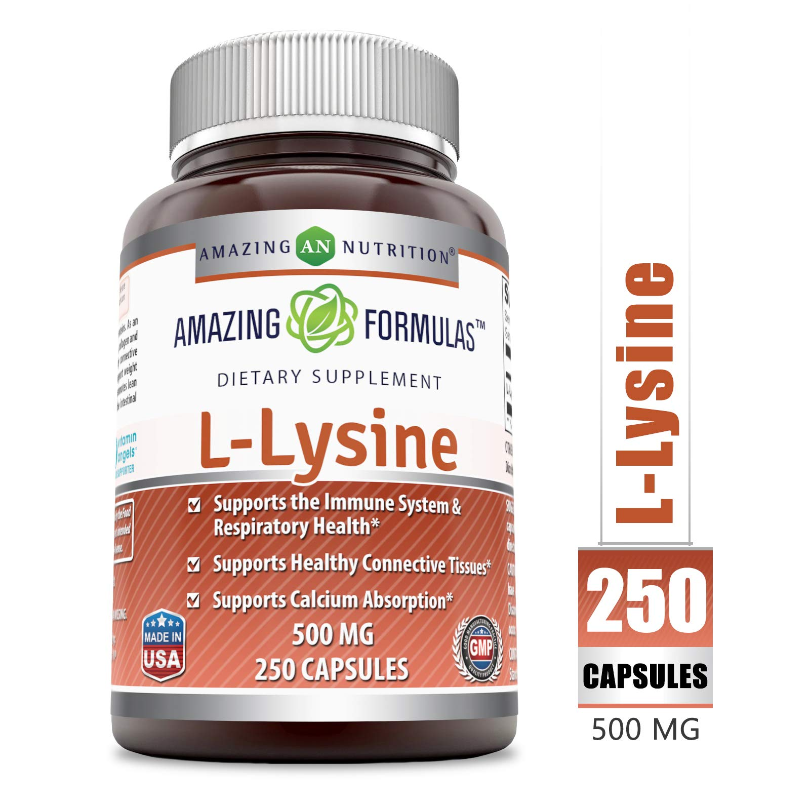 Amazing Nutrition Amazing Formulas L-Lysine - 500mg Amino Acid Vitamin Capsules - Commonly Used for Cold Sores, Immune Support, Respiratory Health & More (250 Caspules) by Amazing Nutrition