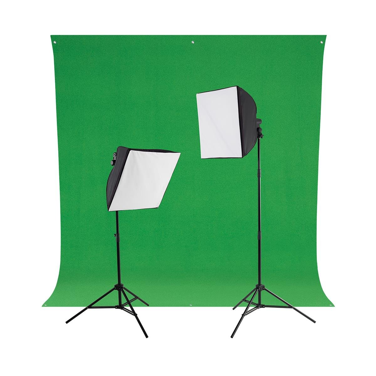 Westcott Green Screen Photo Lighting Kit, Includes 2X uLite Constant Light (500W), 2X uLite Collapsible Softbox, 2X Daylight LED Bulb with Tungsten Cover, Wrinkle-Resistant Backdrop Chroma Key