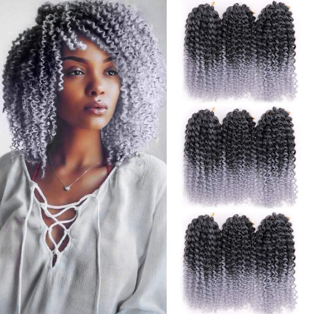 Amazon Com 9 Bundles Lot Marlybob Crochet Curly Hair Braids 8inch Short Synthetic Twist Braiding Hair Ombre Gray Kanekalon Crochet Braids Hair Extensions Beauty