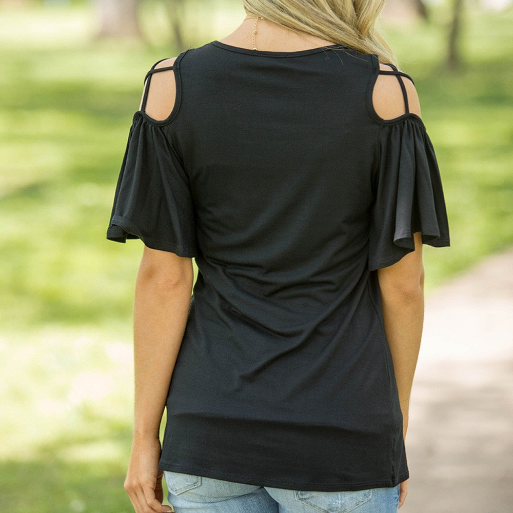 Womens Teen Girls T Shirt Lace Short Sleeve Tank Vest Shirts V Neck Funny Casual Tunic T Shirts Tops Blouse Fashion Tee for Women Teens on Sale Clearance Tanhangguan