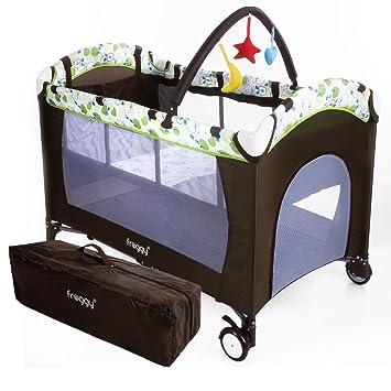 Froggy® bebé cunas muebles cama cuna de viaje cama para niños juguetes portátil con entrada 0-36 meses de Brown: Amazon.es: Bebé