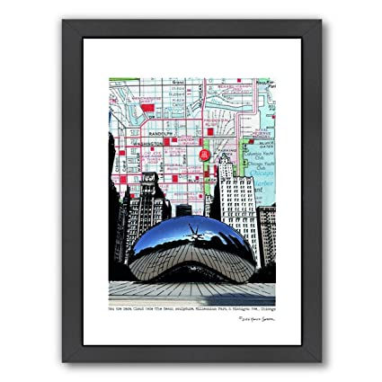 Amazon.com: Americanflat Black Frame Print - Chicago Millennium Bean ...