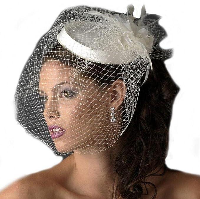 a659e3c350990 SIQINZHENG Women s Vintage Feather Fascinator Short Blusher Bridal Hat  Bridcage Wedding Veil