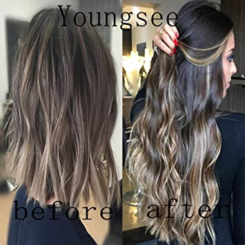 Amazon Com Youngsee 7pcs Balayage Ombre Hair Extensions Clip In