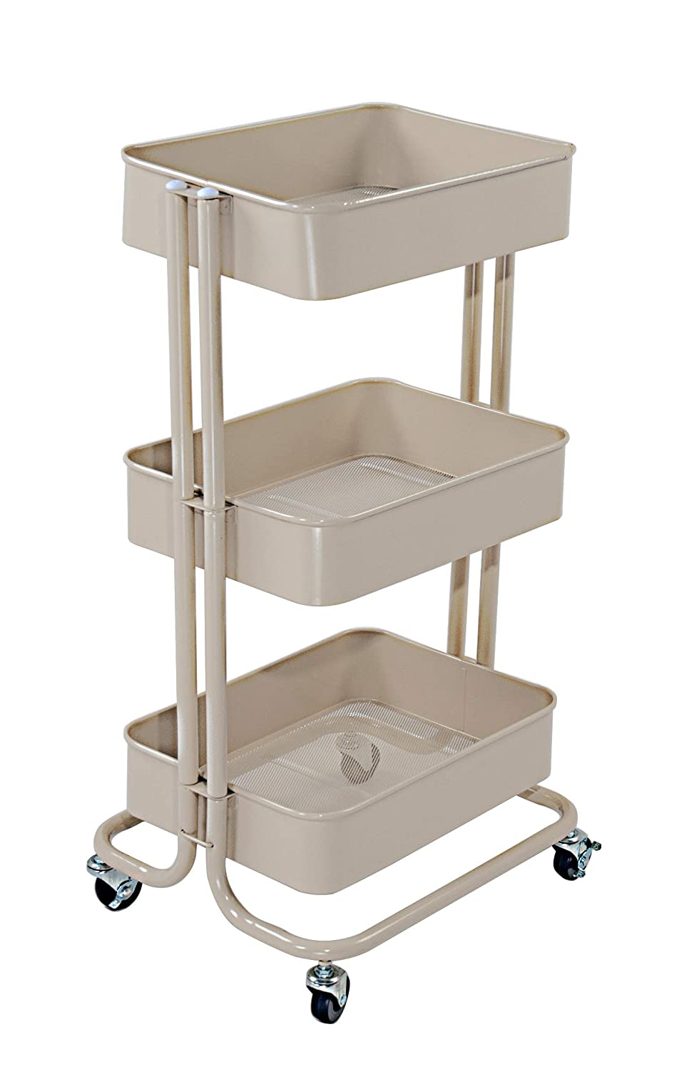 QZDJG 3 Tier Metal Rolling Utility Cart Storage Cart with Wheels Home Kitchen Bedroom Office Storage Trolley Serving Cart Mobile Storage Cart(Beige)